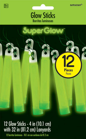 GREEN GLOW STICK NECKLACES 12 PACK