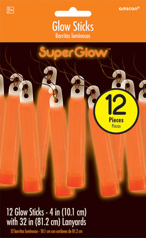 ORANGE GLOW STICK NECKLACES 12 PACK