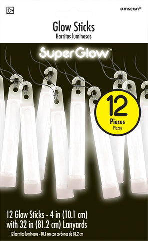 WHITE GLOW STICK NECKLACES 12 PACK