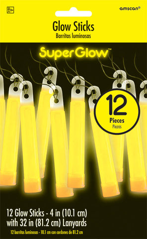 YELLOW GLOW STICK NECKLACES 12 PACK