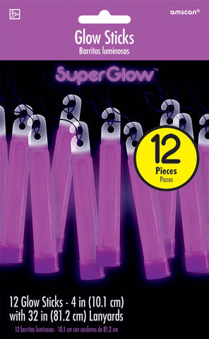 PURPLE GLOW STICK NECKLACES 12 PACK