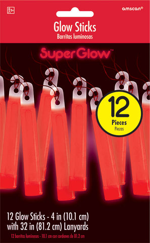 RED GLOW STICK NECKLACES 12 PACK