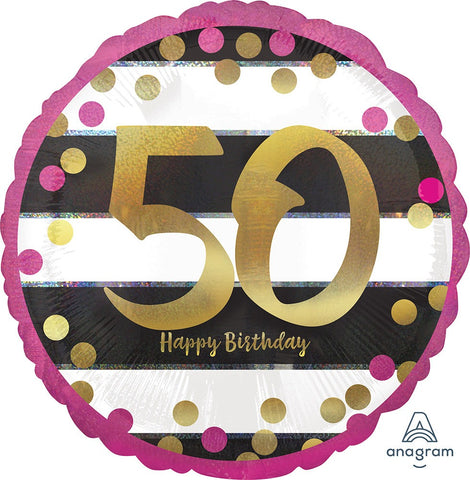 50TH BIRTHDAY MYLAR BALLOONS  PINK, BLACK AND WHITE WITH GOLD SCRIPT