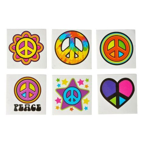 Peace and Love Temporary Tattoos