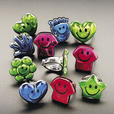 RINGS - SMILE FACE METALLIC ASSORTED  144 PC