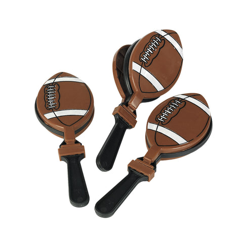 CLAPPER - FOOTBALL PLASTIC         12 CT/PKG