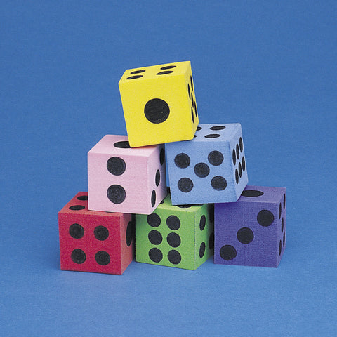 DICE - FOAM ASSORTMENT 12 CT/PKG   1.5""