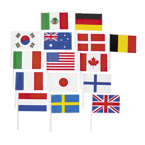 "FLAGS OF ALL NATIONS PLASTIC 6""X 4""  72 CT   *"