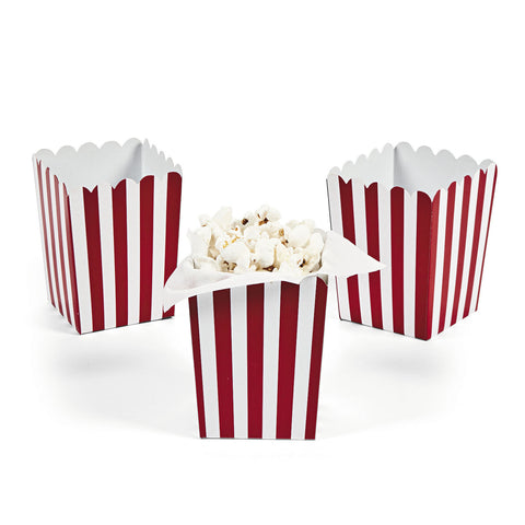 MINI POPCORN BOXES 24PCS RED & WHITE STRIPE