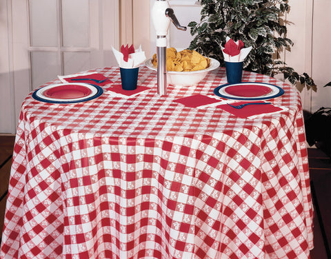 RED GINGHAM ROUND TABLE COVER