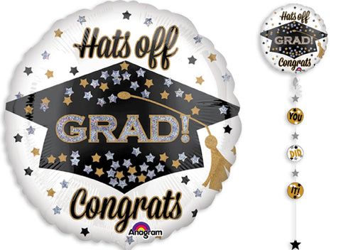 "HATS OFF GRAD CONGRATS 90"" MYLAR WITH RIBBON AND WEIGHT"