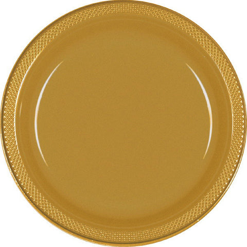 "PLASTIC PLATES - GOLD SPARKLE   7""   20 COUNT"