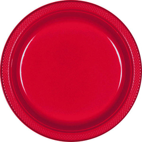 "PLATE - APPLE RED 10 1/4"" PLASTIC 20 CT/PKG"