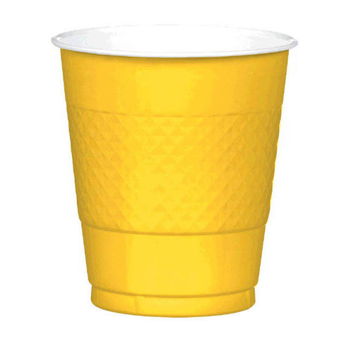 PLASTIC CUPS - SUNSHINE YELLOW   12OZ   20 COUNT