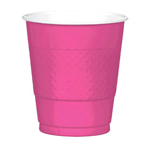 PLASTIC CUPS - BRIGHT PINK   12OZ   20 COUNT
