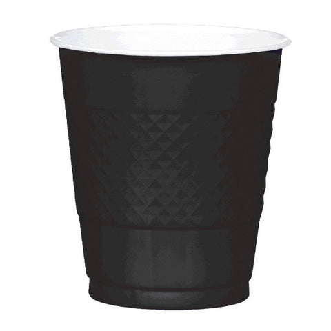 PLASTIC CUPS - JET BLACK   12OZ   20 COUNT