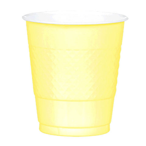 PLASTIC CUPS - LIGHT YELLOW   12OZ   20 COUNT
