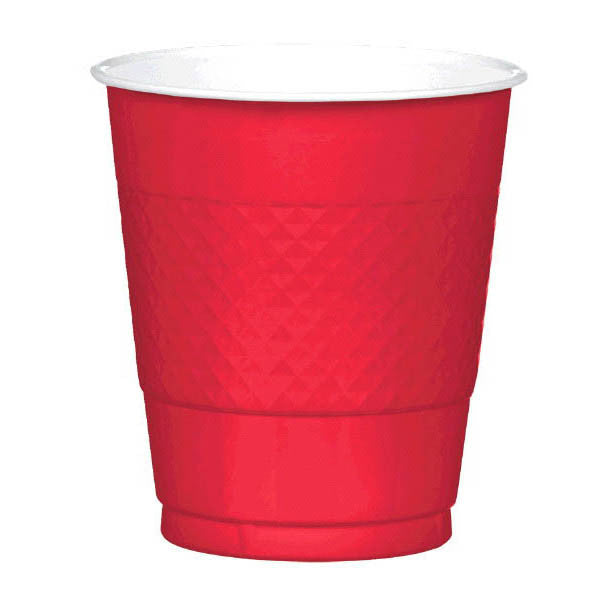 PLASTIC CUPS - APPLE RED  12 OUNCES  20 COUNT