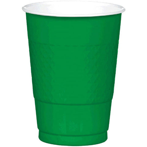 PLASTIC CUPS - FESTIVE GREEN   16OZ   20 COUNT