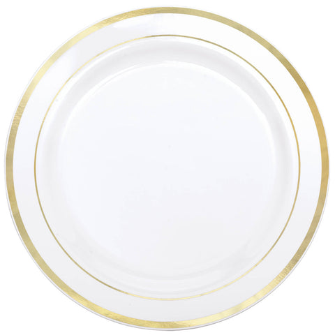 "WHITE W/ GOLD TRIM PLATE 10.25"" 10PCS/PKG"