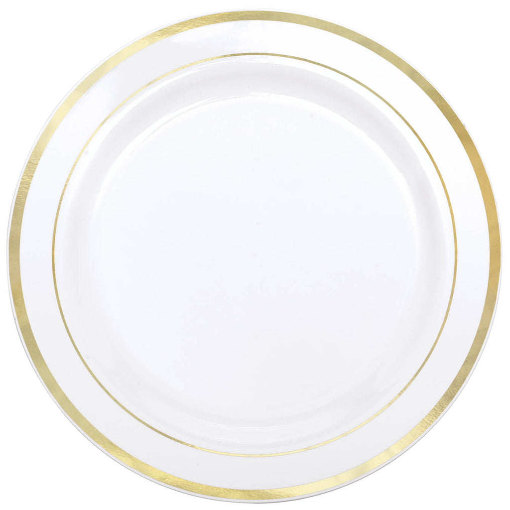 WHITE PREMIUM PLASTIC PLATES WITH GOLD TRIM  sc 1 st  Horner Novelty & WHITE PREMIUM PLASTIC PLATES WITH GOLD TRIM u2013 HornerNovelty