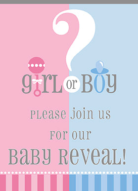 GENDER REVEAL INVITATION 8PCS/PKG