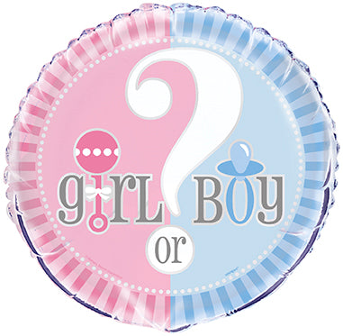 "GENDER REVEAL MYLAR BALLOON   18""  1PC/PKG"