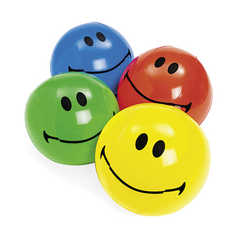 "INFLATABLE - SMILE FACE 14"" BEACH BALLS 12 CT/PKG"