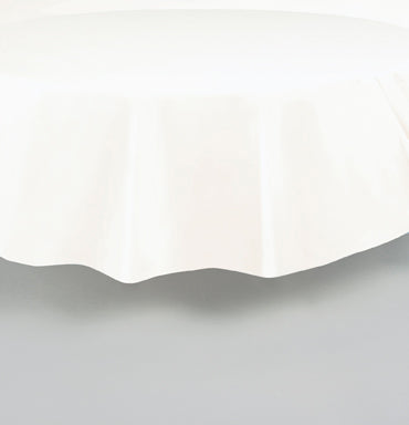 "TABLECOVER - WHITE  84"" ROUND PLASTIC"