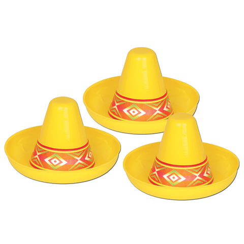 MINI PLASTIC SOMBRERO YELLOW             EACH
