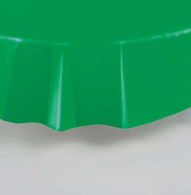 "PLASTIC GREEN TABLECOVER 84"" ROUND"