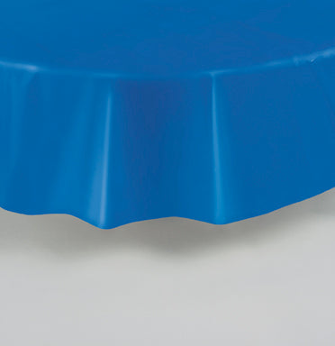 "ROYAL BLUE TABLECOVER 84"" ROUND PLASTIC  1PC"