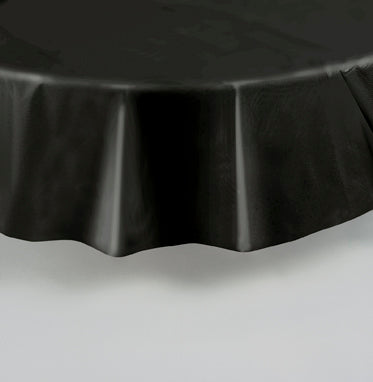 "PLASTIC BLACK TABLECOVER 84"" ROUND"