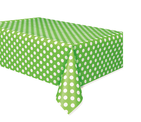 "GREEN POLKA DOT TABLE COVER   54"" X 108""  1PC"