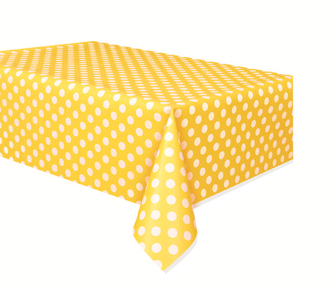 "YELLOW POLKA DOT TABLE COVER   54"" X 108""  1PC"