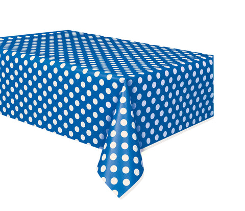 "BLUE POLKA DOT TABLE COVER   54"" X 108""  1PC"