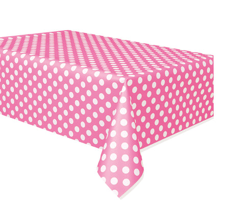 "HOT PINK POLKA DOT TABLE COVER   54"" X 108""  1PC"