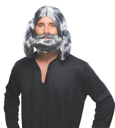 ADULT BIBLICAL BEARD AND WIG SET - GREY