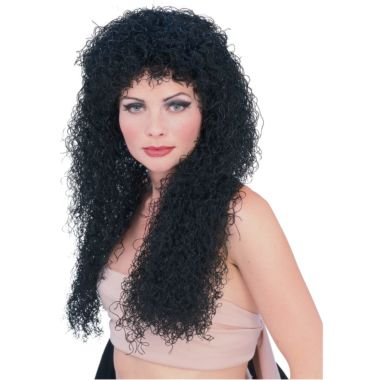 CURLY BLACK WIG - ADULT