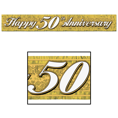 BANNER - HAPPY 50TH ANNIVERSARY  5' METALLIC