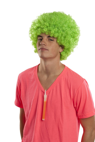 NEON GREEN AFRO WIG GLOWS IN THE DARK