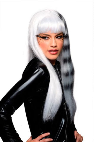 KITTY CAT BLACK AND WHITE WIG - ADULT