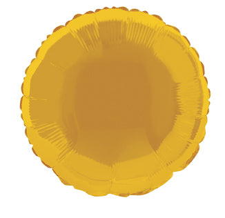 MYLAR BALLOON - GOLD ROUND 18""