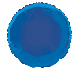 "MYLAR BALLOON ROYAL BLUE  ROUND 18"", 3 STYLES"
