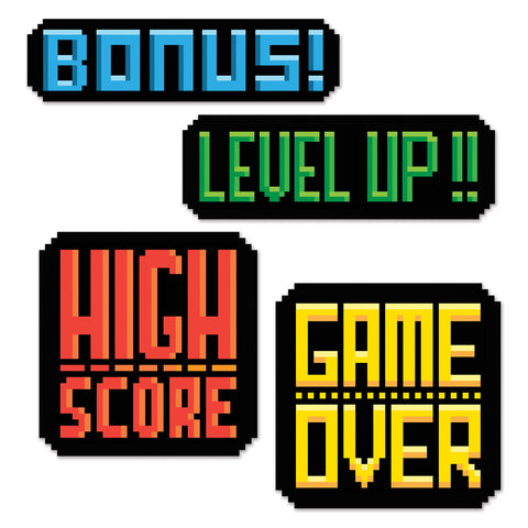 VIDEO GAME ACTION SIGNS 4PCS/PKG