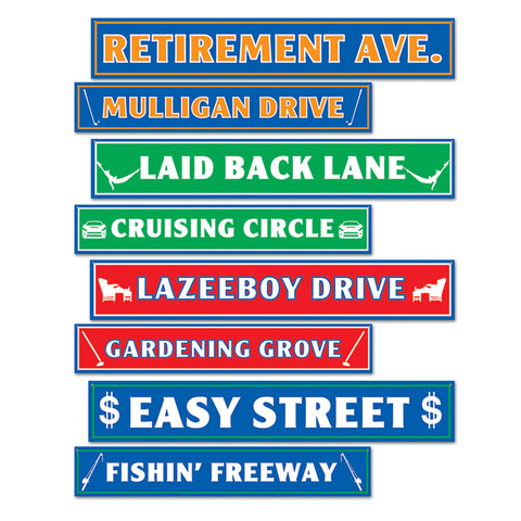CUTOUT - RETIREMENT STREET SIGN ASST 4 CT/PKG