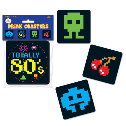 "COASTERS - TOTALLY 80'S 3 1/2""           8 CT/PKG"