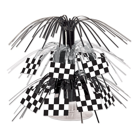 "CHECKERED FLAG CASCADE MINI CENTERPIECE 7.5"" EA"