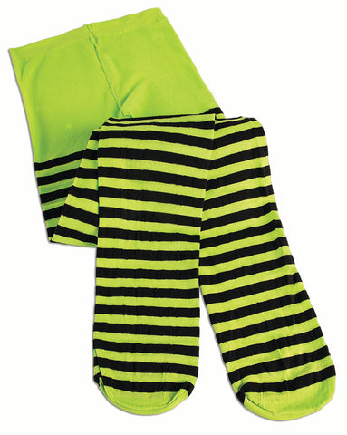 Green/Black Striped Tights - Child Size