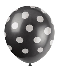 "POLKA DOT BALLOONS BLACK   12""     6PCS/PKG"
